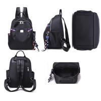 tas import ransel back pack tas punggung kuliah wanita hitam 87921