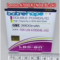 Baterai Battery Logon Lenovo BL243 BL-243 A7000 K3 Note Log-on BL 243