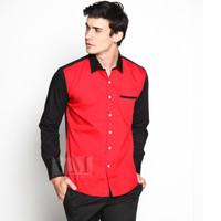 VM Kemeja Panjang Slimfit merah Kombinasi -- KML-411-merah