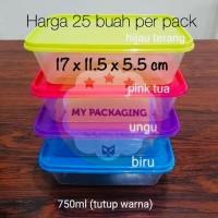 Kotak Makan Microwave / food box / wadah plastik 750ml - tutup warna