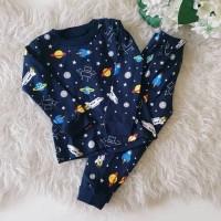 Piyama Anak Space dark blue navy / setelan pijama anak celana panjang