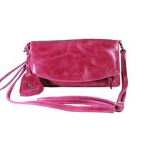 Sling and Clutch Pullup Julia Fuchsia - Kenes Leather