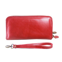 Dompet Kulit Rits Red Pull Up - Kenes Leather