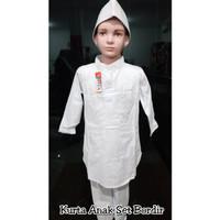 Koko putih anak kurta set/koko turki anak motif bordir