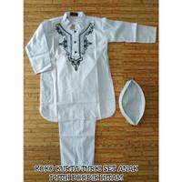 Koko putih anak kurta set/koko turki anak motif bordir hitam