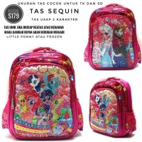 S179 Tas Usap Sequin 2 Karakter My Little Pony - Frozen