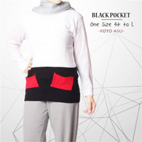 Atasan rajut wanita | black pocket | fashion murah | baju kuliah