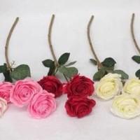 Bunga Mawar Merah Per Tangkai / Rose Artificial / Mawar Kain / Bunga