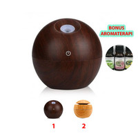Air Humidifier Essential Oil Diffuser Aroma Terapi Motif Kayu Coklat