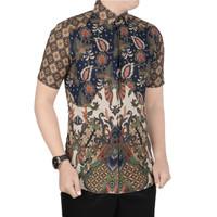 VM Kemeja Batik Pendek Slimfit Batik Pria Modern - B-408