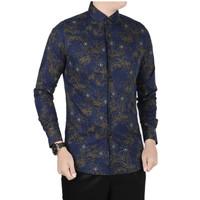 VM Kemeja Batik Panjang Slimfit Biru Dongker - [B-411]