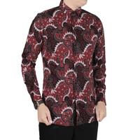 VM Kemeja Batik Panjang Slimfit Merah Maroon - B-413