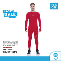 Tiento Baselayer Pria Celana Legging Sport Thumbhole Red Men 1 Set