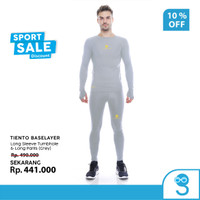 Tiento Baselayer Manset Men Thumbhole dan Celana Legging Grey 1 Stel