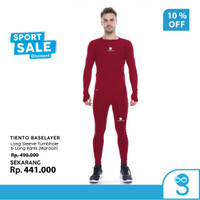 Tiento Baselayer Manset Men Thumbhole dan Celana Legging Maroon 1 Stel