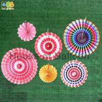 Paper fan Rainbow A set / paperfan / paper flower set 6 in 1