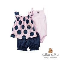 Carter's Polka Pink 3in1 Set / baju set anak perempuan