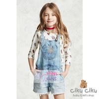 MJ White Top + Overall Girl Set / baju set anak perempuan