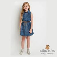 MJ Denim Dress + Belt / baju anak perempuan