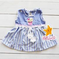 Dress Bayi Perempuan Dress Anak Cewek Ice Cream Stripes FREE Bandana