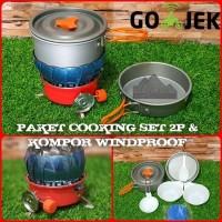 Paket Hemat Cooking set / Nesting 2 person & Kompor Windproof / Bunga