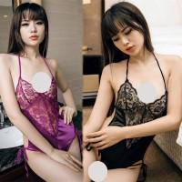 Lingerie Bodysuit Teddy Lace Sexy Erotis Deep V-Neck Tali Tipis A195