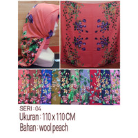 Jilbab Segi Empat Motif Bahan Wolfis / Wool Peach Seri : 04