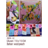 Jilbab Segi Empat Motif Bahan Wolfis / Wool Peach Seri : 02