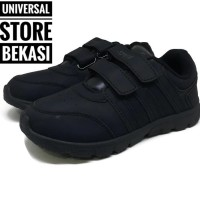 Speed Carry Cameo Sepatu Sekloah Paud TK SD Full Hitam Anak All Black