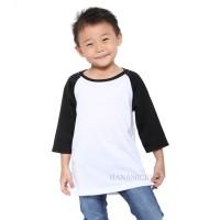 Kaos Anak Murah Raglan Body Putih 3/4 (HK)