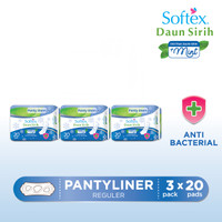 Buy 3 in 1 Softex Daun Sirih Pantyliner Mint Reg 20's