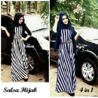 Gamis / Baju / Pakaian Wanita Muslim Salsa Salur Scuba Syari