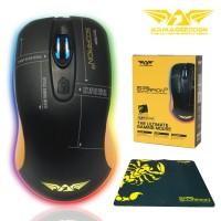 Mouse Gaming Armaggeddon SCORPION 3 RGB Colour Plus Mousepad - Hitam