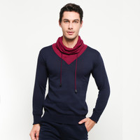 VM Sweater Rajut Krah Tinggi Tali Biru Dongker - KRAH-TALI-NAVY