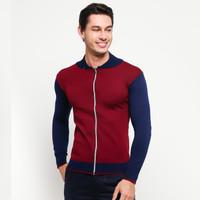 VM Sweater Rajut Sleting Merah Maroon - KSP-MAROON