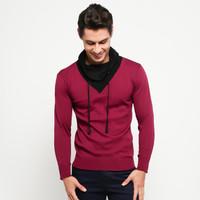 VM Sweater Rajut Krah Tinggi tali Merah Maroon - KRAH-TALI-MARON
