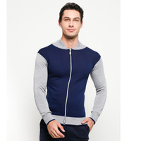 VM Sweater Rajut Sleting Biru DOngker - KSP-NAVY