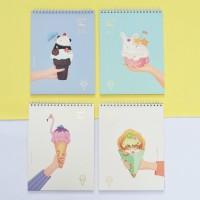 Terlaris Animal Ice Cream Spiral Sketchbook B4 86 Halaman Kertas