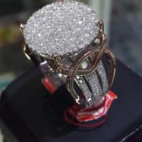 cincin wanita emas putih kadar 40% full berlian