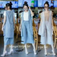 ec Stelan Mango Stripe Set 853 Biru Grey Setelan No Inner