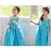 Dress Frozen Elsa Biru