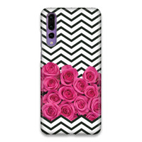 Floral Rose Cevhron Stripes Hard Case Cover For Huawei P20 Pro