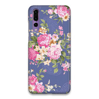 Indocustomcase Floral Rose Blue Flower Hard Case Cover Huawei P20 Pro