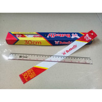 Penggaris Plastik Glass Ruler 30 cm - Butterfly