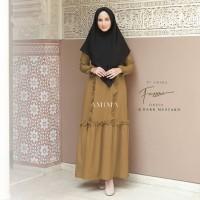 AMIMA FAZZURA DRESS DARK MUSTARD GAMIS ONLY POLOS katun medina madina