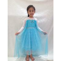 Dress Baju Kostum Gaun Princess Frozen Elsa (13) Dada Brukat + Kalung