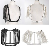 Sexy Women's Leather Punk Body Bra Chest Harness Fringe Skirt