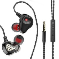 Earphone Bass Subwoofer Dual Moving Coil dengan Mic - D6