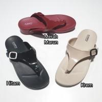 jelly sandal wanita jepit luofu sendal japit gesper karet import e7154
