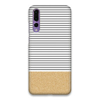 Glitter Gold Minimal Stripes Hard Case Cover For Huawei P20 Pro